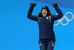 February 15, 2018 - Pyeongchang, South Korea - FEDERICA BRIGNONE of Italy with her bronze medal from the Ladies' Giant Slalom event in the PyeongChang Olympic games. (Credit Image: © Christopher Levy via ZUMA Wire)