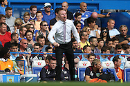 Sean Dyche, the Burnley manager screaming from the touchline. Premier league match, Chelsea v Burnley at Stamford Bridge in London on Saturday 27th August 2016.<br /> pic by John Patrick Fletcher, Andrew Orchard sports photography.