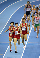 Photo: Rich Eaton.<br /> <br /> EAA European Athletics Indoor Championships, Birmingham 2007. 04/03/2007. Spains Juan Carlos Higuero 187  celebrates victory in the mens 1500m race ahead of Sergio Gallardo  and Arturo Casado , also of Spain