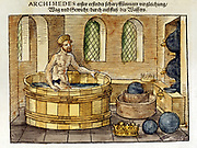 Archimedes (c287-212 BC) Greek mathematician and inventor, in his bath. Discovered formulae for calculating areas and volumes of plane and solid figures. Hydrostatics. Supposed to have shouted 'Eureka' on discovering principle of upthrust on a floating body. Hand-coloured woodcut, 1547.