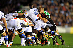 Chris Robshaw of Harlequins in action at a scrum - Photo mandatory by-line: Patrick Khachfe/JMP - Mobile: 07966 386802 17/10/2014 - SPORT - RUGBY UNION - London - Twickenham Stoop - Harlequins v Castres Olympique - European Rugby Champions Cup