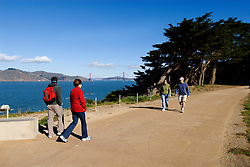 California, San Francisco: Hikers at Lands End..Photo #: 25-casanf75839.Photo © Lee Foster 2008