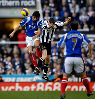 Photo: Jed Wee.<br /> Newcastle United v Portsmouth. The Barclays Premiership. 26/11/2006.<br /> <br /> Portsmouth's Dejan Stefanovic (L) wins the ball from Newcastle's James Milner.
