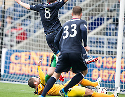 Falkirk's Blair Alston tackled in the box for a penalty claim.<br /> Falkirk 1 v 2 Dumbarton, Scottish Championship game played today at the Falkirk Stadium.<br /> ©Michael Schofield.
