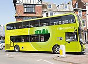 Double decker tour bus advertising Stonehenge, Salisbury, Wiltshire, England, UK