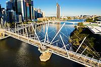 Aerial view of the Kurilpa Bridge over the Brisbane River, Brisbane, Queensland, Australia