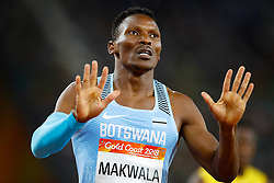 Botswana's Issac Makwala celebrates after winning the Men's 400m Semifinal 1at the Carrara Stadium during day five of the 2018 Commonwealth Games in the Gold Coast, Australia.