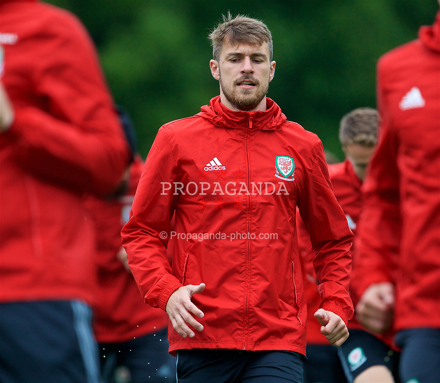 CARDIFF, WALES - Thursday, June 8, 2017: Wales' Aaron Ramsey during a training session at the Vale Resort ahead of the 2018 FIFA World Cup Qualifying Group D match against Serbia. (Pic by David Rawcliffe/Propaganda)