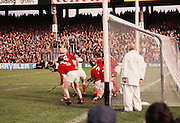 The Cork goal is filled with players as they defend against Wexford's free during the All Ireland Senior Hurling Final, Cork v Wexford in Croke Park on the 4th September 1977. Cork 1-17 Wexford 3-8.