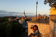 Overview of Tallinn at sunset, Estonia