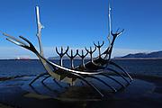 The Solfár, or Sun Voyager, sculpture in Reykjavik, Iceland