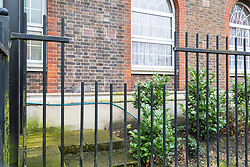 Cut railings indicate where the RSPCA and the FLondon Fire Brigade rescued a ginger cat after a passer-by found the helpless animal impaled on the 8ft tall railings at approximately 3.50am on Friday 9th March 2018, on Flowers Close in Cricklewood . London, March 12 2018.
