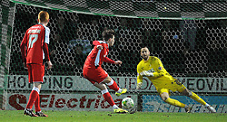 Yeovil Town's Scott Loach saves a penalty from Walsall's Tom Bradshaw  - Photo mandatory by-line: Harry Trump/JMP - Mobile: 07966 386802 - 03/03/15 - SPORT - Football - Sky Bet League One - Yeovil v Walsall - Huish Park, Yeovil, England.