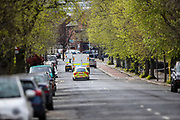 A general view Ormeau Road as the Police ammunition technical officers are leaving Ormeau Golf Club in Belfast on Friday, April 23, 2021. A suspicious object was found and a security alert was raised Police said after an object was discovered in the area around Ormeau Golf Club. (Photo/ Vudi Xhymshiti)