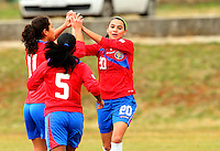 Fifa Womans World Cup Canada 2015 - Preview //<br /> Istria Cup 2015 Tournament ( Stella Maris Stadium , Umag - Croatia ) - <br /> Costarica vs Bosnia & Herzegovina 1-0  , <br /> Wendy Acosta of Costarica (R) celebrates with team mates Diana Saenz (5) and Raquel Rodriguez (11) ,<br /> after score his Goal (1-0) during the match