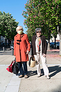 two senior woman on their way to do shopping during the covid 19 crisis and lockdown France Limoux April 2020