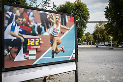 Photo of Slovenian triple  jump athlete Snezana Rodic in the Qualification when she qualified for finals at the 1st day of  European Athletics Indoor Championships Torino 2009 during Opening ceremony of photo exhibition at 100 years Anniversary of Slovenian Athletic Federation, on September 17, 2020 in Tivoli park, Jakopicevo sprehajalisce, Ljubljana, Slovenia. Photo by Vid Ponikvar / Sportida