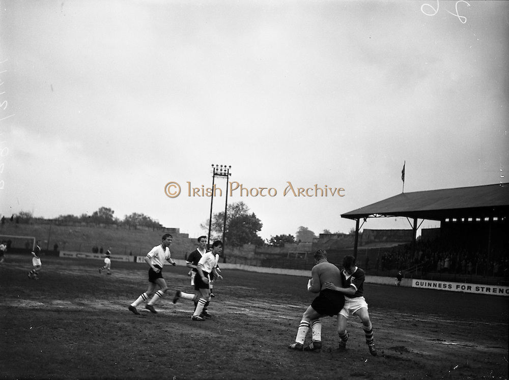 13/05/1960<br /> 05/13/1960<br /> 13 May 1960<br /> Soccer, Schoolboys International: Ireland v England at Tolka Park, Dublin. The game ended in a 2-2 draw. Picture shows Irish outside left, F. Connolly of Ringmahon Rangers, (Cork, colliding with English Keeper L. Ker as the English backs come to the patters aid.