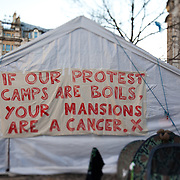 Writing on the wall of Tent City University tent, a tent used for workshops and meetings through-out the occupation. The camp Occupy London Stock Exchange outside St Paul's Cathedral was in the morning served with eviction notice after months of legal battle with the Corporation of London. The site was occupied Oct 15th 2011