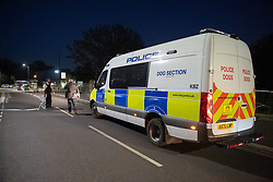 © Licensed to London News Pictures. 31/05/2021. London, UK. A Police Dog Section van at the crime scene at Montrose Park, Edgware following the fatal stabbig of an 18-year-old male. Metropolitan Police were called at 17:54 BST on Monday 31/05/2021 following reports of a group of males fighting. The man was found suffering from a stab injury in a tennis court area. He was treated by London's Air Ambulance and London Ambulance Service at the scene but was pronounced dead at 19:19 BST. Photo credit: Peter Manning/LNP