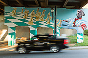 Asheville Mural Project painted on the overpass under Highway 240 Bridge connecting Lexington and Broadway in Asheville, North Carolina.