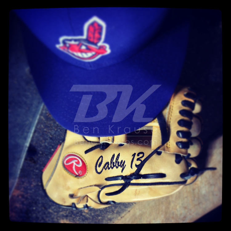 An Instagram of the glove and hat of Cleveland Indians Asdrubal Cabrera during a game at Target Field in Minneapolis, Minnesota.