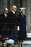 Margaret and Dennis Thatcher at the Falkland Memorial Service, St.Paul's Cathedral, London in July 1982. Photograph by Jayne Fincher