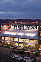 River Market building at dusk in the River Market district of downtown Little Rock Arkansas