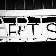 "The word ""ARTS"" at the Fine Arts Center on the University of Massachusetts campus in Amherst, Massachusetts."