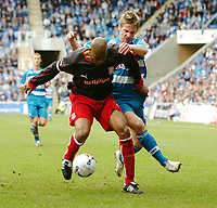 Photo: Kevin Poolman.<br />Reading v Stoke City. Coca Cola Championship. 17/04/2006. Stoke's Michael Duberry and Reading's Kevin Doyle fight it out.