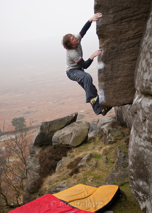 Ben Bransby bouldering at Stanage Plantation