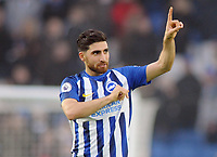 Football - 2019 / 2020 Premier League - Brighton & Hove Albion vs. Chelsea<br /> <br /> Alireza Jahanbakhsh of Brighton celebrates his spectacular winning goal with the fans after the match, at The Amex.<br /> <br /> COLORSPORT/ANDREW COWIE