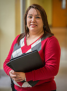 Ana Beltran poses for a photograph at Jackson Middle School, January 29, 2014. Beltran was named Houston ISD Employee of the Month for February 2014.