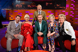 Presenter Graham Norton (standing) with (left to right) Bradley Cooper, Lady Gaga, Ryan Gosling, Jodie Whittaker and Sir Rod Stewart<br /> during the filming of the Graham Norton Show at BBC Studioworks 6 Television Centre, Wood Lane, London, to be aired on BBC One on Friday evening.