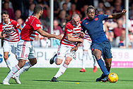 Uche Ikpeazu of Heart of Midlothian holds off the challenge of Darian Mackinnon of Hamilton Academical FC during the Ladbrokes Scottish Premiership League match between Hamilton Academical FC and Heart of Midlothian FC at New Douglas Park, Hamilton, Scotland on 4 August 2018. Picture by Malcolm Mackenzie.