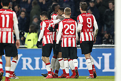 (L-R) Hirving Lozano of PSV, Mauro Junior of PSV, Nicolas Isimat-Mirin of PSV, Joshua Brenet of PSV, Albert Gudmundsson of PSV, Luuk de Jong of PSV during the Dutch Eredivisie match between PSV Eindhoven and PEC Zwolle at the Phillips stadium on February 03, 2018 in Eindhoven, The Netherlands