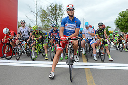 September 16, 2016 - Wuhan, China - Italian Marco Benfatto from Androni-Giocattoli Team wears the Blue Jersey of The Best Sprinter, at the start line of the final sixth stage, 99.6km Wuhan Xinzhou Circuit race, of the 2016 Tour of China 1..On Friday, 16 September 2016, in Xinzhou, Wuhan , China.Xinzhou, China. (Credit Image: © Artur Widak/NurPhoto via ZUMA Press)