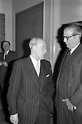 07/02/1963<br /> 02/07/1963<br /> 07 February 1963<br /> Brittain Dublin Ltd. Golden Jubilee reception and Dinner at the Hibernian Hotel, Dublin. Picture shows Mr. H.C.R. Mullens, Director, British Motor Corporation Services Ltd. (right) talking with another guest at the event.