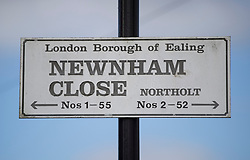 © Licensed to London News Pictures. 12/04/2017. London, UK. A road sign at Newnham Close where a 19 year old man, named locally as Abdullahi Tarabai,  was murdered yesterday after reportedly being chased though a housing estate in Northolt. This is the second fatal stabbing in the capital in 24 hours. The location is adjacent to a gun siege from October 2016. Four men have been arrested Photo credit: Peter Macdiarmid/LNP