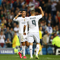 Karim Benzema of Real Madrid celebrates with Cristiano Ronaldo after scoring his side's opening goal during the UEFA Champions League Group A football match between Real Madrid and Shakhtar Donetsk on September 15, 2015 at Santiago Bernabeu stadium in Madrid, Spain. <br /> Photo Manuel Blondeau / AOP PRESS / DPPI