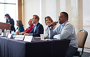 "Kaleem Caire, right, speaks during the panel discussion ""Have Vouchers and Charters Helped Wisconsin Students?"" during the Cap Times Idea Fest 2018 at the Pyle Center in Madison, Wisconsin, Saturday, Sept. 29, 2018."