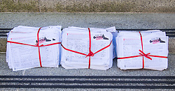 Ministry of Defence, Westminster, July 18th 2016. A petition with over 40,000 signatures is handed in to the Ministry of Defence, calling for the abandonment of the Trident Nuclear deterrent programme ahead of a debate on the issue in Parliament. PICTURED: Over 40 thousand signatures are contained in three thick bundles that make up the petition.