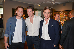 Left to right, CJ JONES, BLAISE PATRICK and JAMES DASHWOOD at a private view of paintings by Michael Flatley entitled Firedance held at 12 hay Hill, London on 24th June 2015.