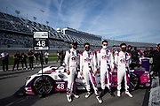 January 30-31, 2021. IMSA Weathertech Series. Rolex Daytona 24h:  #48 Ally Cadillac Racing, Cadillac DPi, Jimmie Johnson, Kamui Kobayashi, Simon Pagenaud, Mike Rockenfeller
