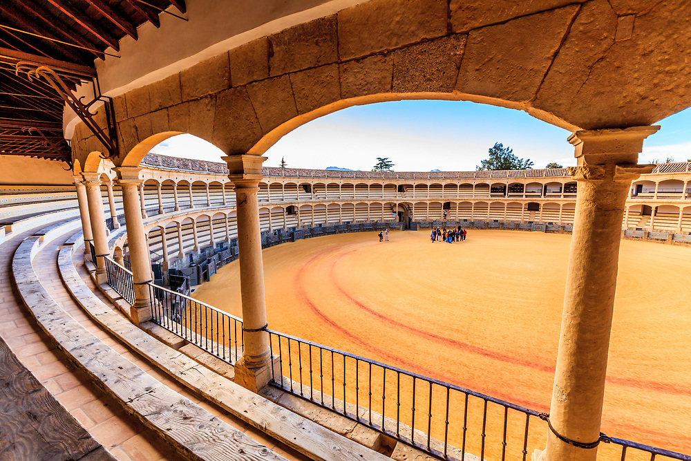 The Plaza de Toros in Ronda, Spain. The Ronda bullring is one of the most significant and oldest bullrings in the world. Ernest Hemingway visited many times on this plaza, and it influenced perhaps the best fictional novel about bullfighting, Death in the Afternoon published in 1932.
