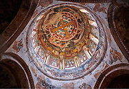 Pictures & images of Nikortsminda ( Nicortsminda ) St Nicholas Georgian Orthodox Cathedral rich interior frescoes of the cupola dome, 16th century, Nikortsminda, Racha region of Georgia (country). A UNESCO World Heritage Tentative Site. .<br /> <br /> Visit our MEDIEVAL PHOTO COLLECTIONS for more   photos  to download or buy as prints https://funkystock.photoshelter.com/gallery-collection/Medieval-Middle-Ages-Historic-Places-Arcaeological-Sites-Pictures-Images-of/C0000B5ZA54_WD0s<br /> <br /> Visit our REPUBLIC of GEORGIA HISTORIC PLACES PHOTO COLLECTIONS for more photos to browse, download or buy as wall art prints https://funkystock.photoshelter.com/gallery-collection/Pictures-Images-of-Georgia-Country-Historic-Landmark-Places-Museum-Antiquities/C0000c1oD9eVkh9c