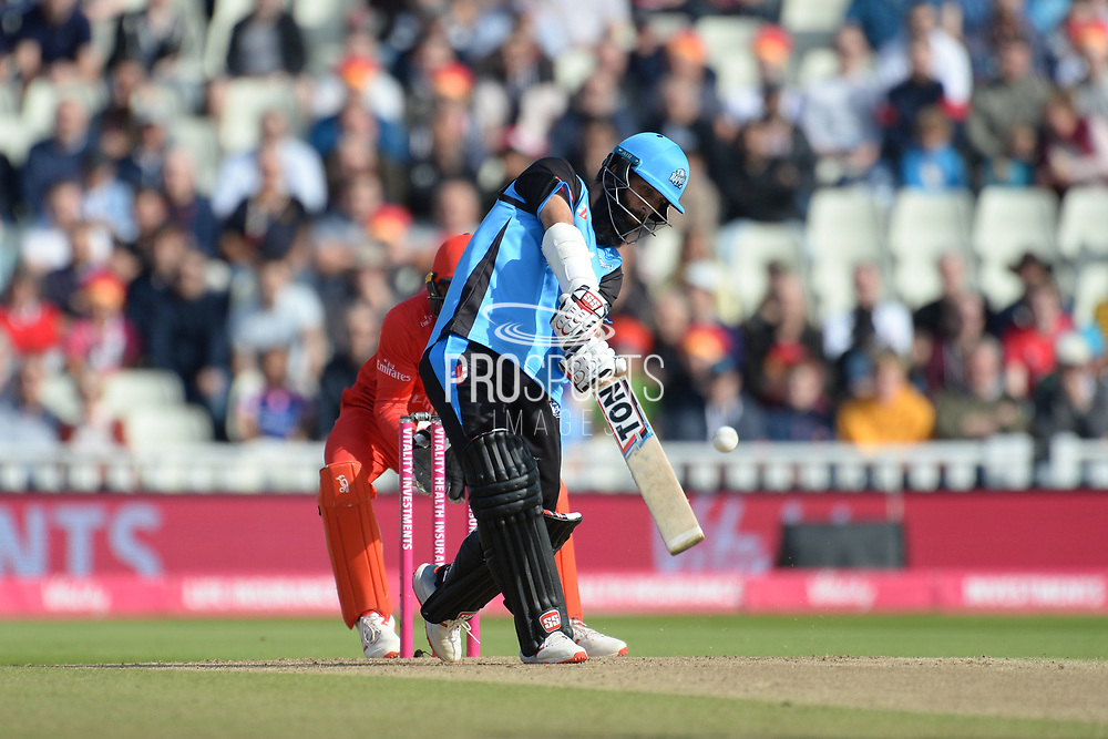 Moeen Ali of Worcestershire Rapids hits down the ground for 6 during the Vitality T20 Finals Day Semi Final 2018 match between Worcestershire Rapids and Lancashire Lightning at Edgbaston, Birmingham, United Kingdom on 15 September 2018.