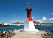 Modern navigation light in the port at Playa Blanca, Lanzarote, Canary Islands, Spain