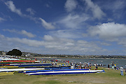 San Diego, California. USA.  General Views of the Boat Storage and Beach boating area. crews at the 2013 Crew Classic Regatta, Mission Bay.  08:54:07.  Saturday  06/04/2013   [Mandatory Credit. Peter Spurrier/Intersport Images]  ..