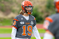 KELOWNA, BC - SEPTEMBER 22: Cole Stregger #19 of Okanagan Sun stands on the field during warm up against the Valley Huskers at the Apple Bowl on September 22, 2019 in Kelowna, Canada. (Photo by Marissa Baecker/Shoot the Breeze)